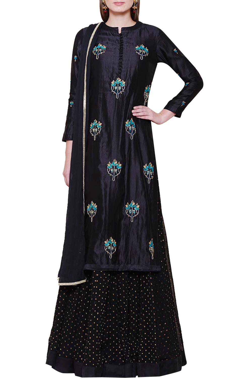 fe71b230fa Suits, Clothing, Carma, Black Zardosi Work Kurta With Skirt Set , , ,