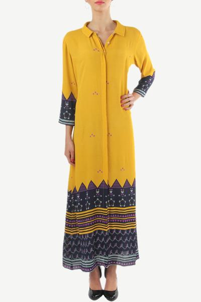 Dresses, Clothing, Carma, Yellow printed ankle length dress ,  ,