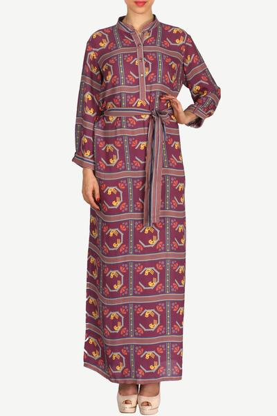 Dresses, Clothing, Carma, Purple printed geometric long dress ,  ,
