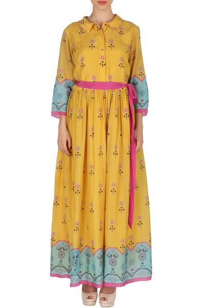 Dresses, Clothing, Carma, Yellow Floral Print Maxi Dress ,  ,