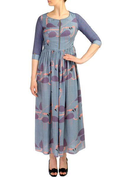 Dresses, Clothing, Carma, Powder Blue Flamingo Print Maxi Dress ,  ,  ,