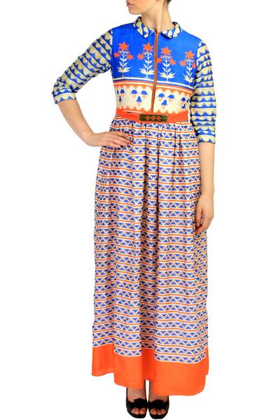 Dresses, Clothing, Carma, Blue And Orange Printed Maxi Dress ,  ,