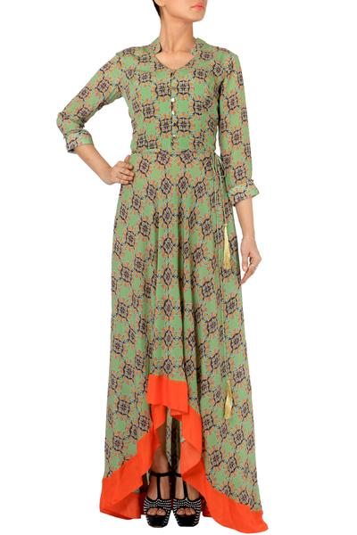 Dresses, Clothing, Carma, Pale Olive Printed Asymmetric Dress ,  ,  ,