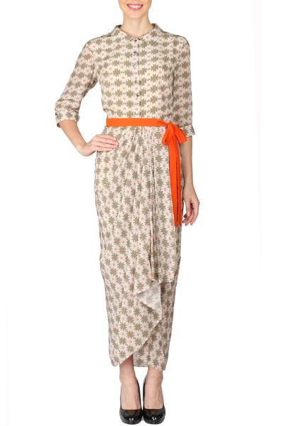 Dresses, Clothing, Carma, Ivory And Olive Printed Dhoti Dress ,  ,