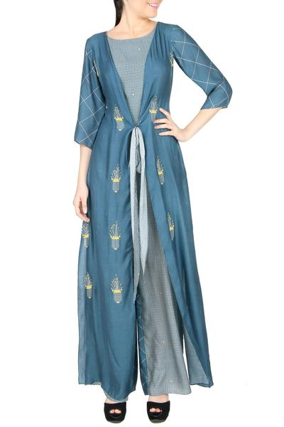 Jumpsuits, Clothing, Carma, Blue printed and embroidered jumpsuit ,  ,  ,