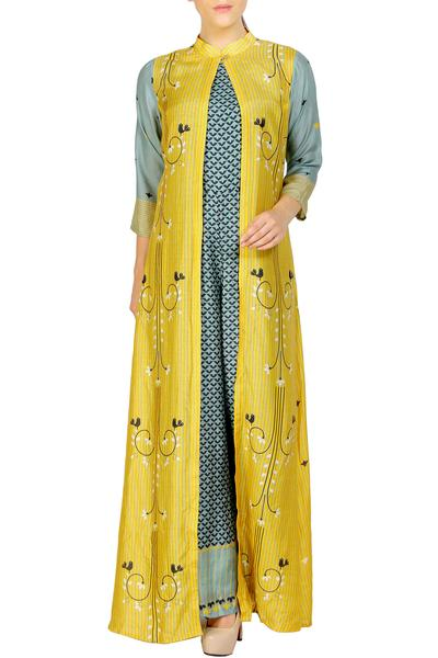 Jumpsuits, Clothing, Carma, Greyish green printed jumpsuit with yellow jacket ,  ,  ,