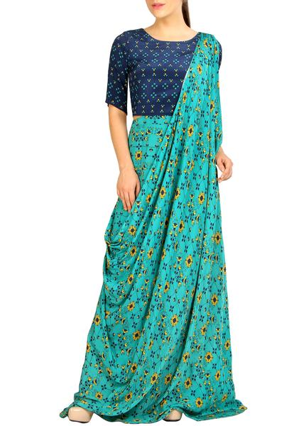 Gowns, Clothing, Carma, Blue and green printed saree gown ,  ,  ,