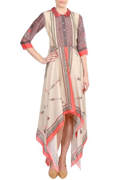 Dresses, Clothing, Carma, Peach and beige printed asymmetric dress ,  ,