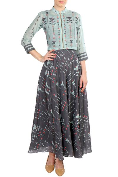 Dresses, Clothing, Carma, Dark blue printed maxi dress with jacket ,  ,