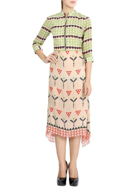 Dresses, Clothing, Carma, Peach printed front zip dress ,  ,