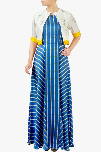 Dresses, Clothing, Carma, Blue striped maxi with ivory jacket ,  ,
