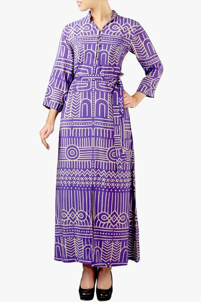 Dresses, Clothing, Carma, Purple abstract front slit dress ,  ,