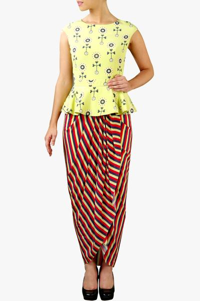 Dresses, Clothing, Carma, Lemon green peplum dhoti dress ,  ,