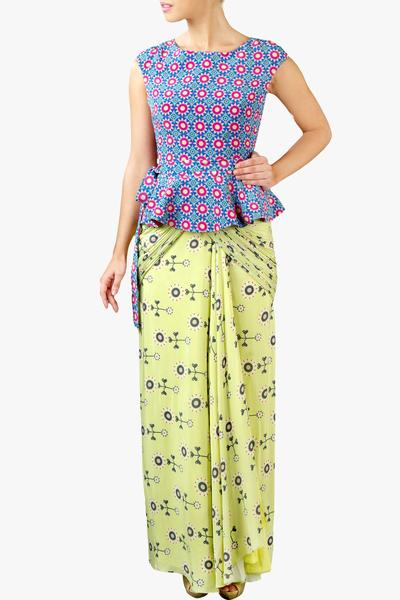 Dresses, Clothing, Carma, Printed draped peplum dress ,  ,