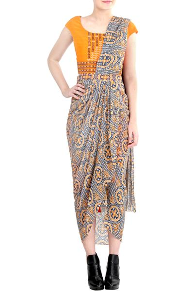 Sarees, Sarees, Clothing, Carma, Orange And Navy Printed Draped Saree ,  ,