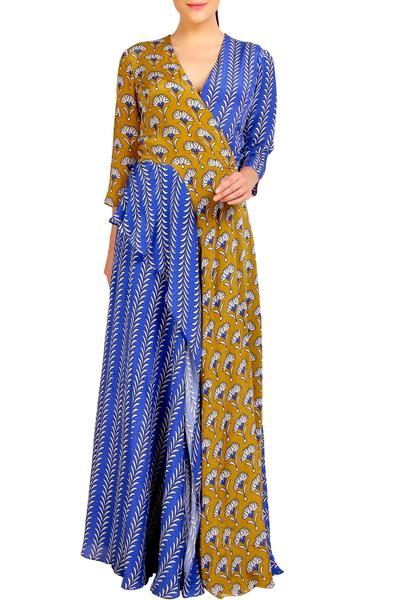 Gowns, Clothing, Carma, Blue and mustard draped gown ,  ,  ,