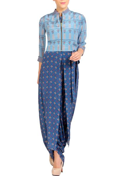 Jumpsuits, Clothing, Carma, Blue printed draped jumpsuit with jacket ,  ,  ,