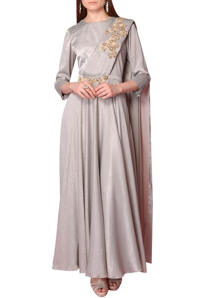 Gowns, Clothing, Carma, Grey embroidered draped gown ,  ,  ,