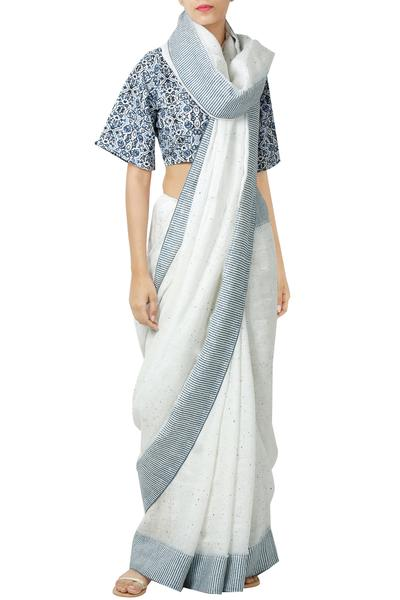 Sarees, Sarees, Clothing, Carma, Ivory Printed Saree And Blouse ,  ,  ,
