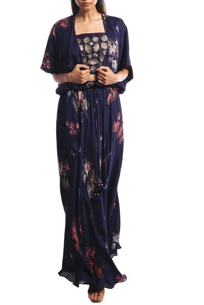 Gowns, Clothing, Carma, Navy blue embroidered top with gown ,  ,  ,