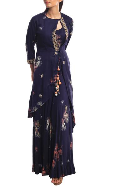Gowns, Clothing, Carma, Navy printed jacket with gown ,  ,  ,