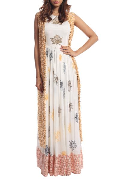 Gowns, Clothing, Carma, Ivory printed gown with jacket ,  ,  ,
