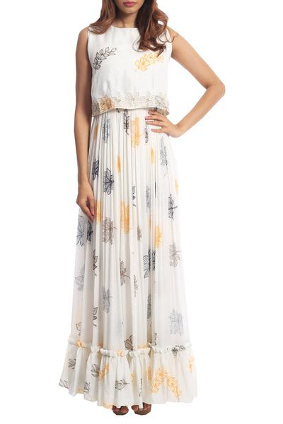 Gowns, Clothing, Carma, Ivory printed gown with embroidered top ,  ,  ,