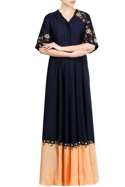 Gowns, Clothing, Carma, Navy Blue Embroidered Gown ,  ,