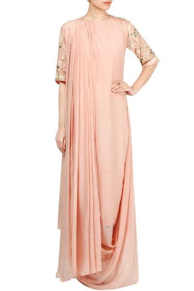 Gowns, Clothing, Carma, Blush Pink Draped Saree Gown ,  ,