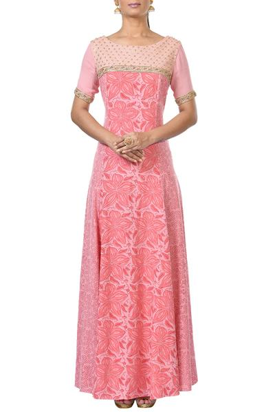 Gowns, Clothing, Carma, Pink printed and embroidered gown ,  ,