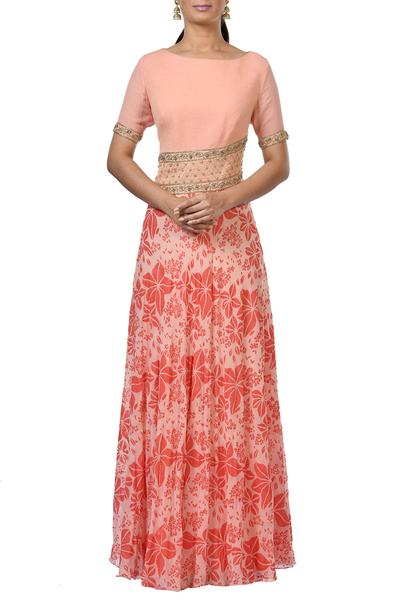 Gowns, Clothing, Carma, Peach printed and embroidered gown ,  ,