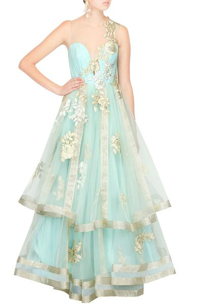 Gowns, Clothing, Carma, Mint blue floral embroidered net inserts layered gown ,  ,