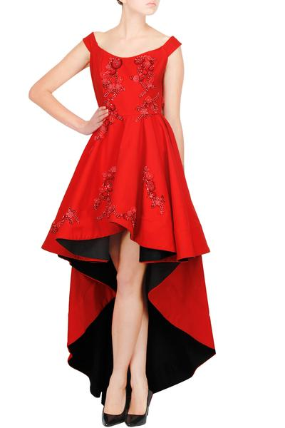 Gowns, Clothing, Carma, Red embroidered high-low floor length gown ,  ,