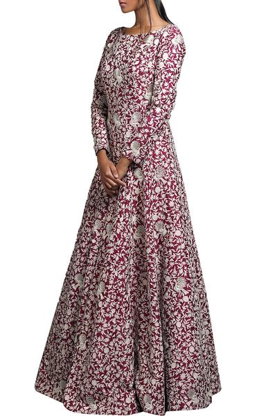 Gowns, Clothing, Carma, Wine peacock embroidered gown ,  ,