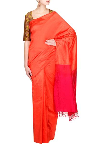Sarees, Sarees, Clothing, Carma, Coral And Hot Pink Anasuya Saree With Brown Alfee Blouse ,