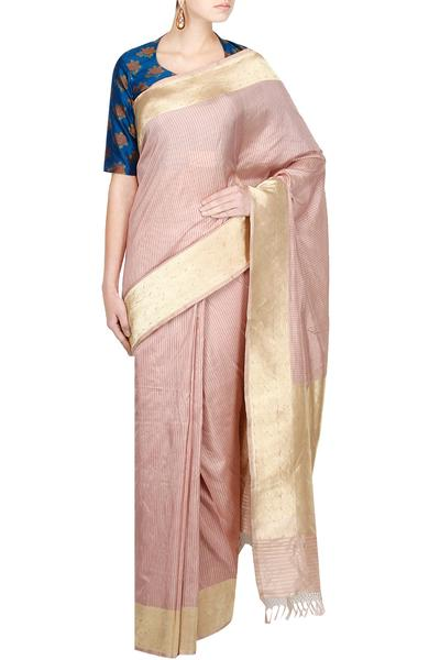Sarees, Sarees, Clothing, Carma, Ash Pink Kali Saree With Blue Gulab Blouse ,