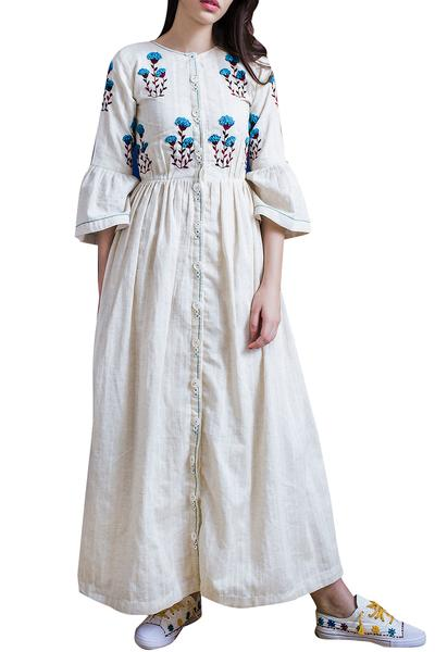 Dresses, Clothing, Carma, Ivory hand embroidered front button maxi dress ,  ,