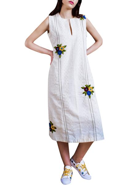Dresses, Clothing, Carma, Ivory floral hand embroidered dress ,  ,
