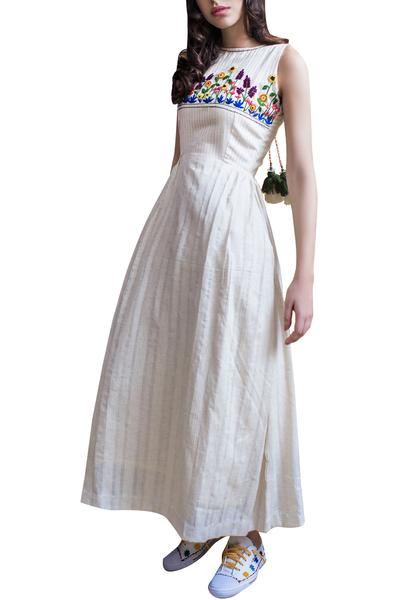 Dresses, Clothing, Carma, Ivory floral hand embroidered maxi dress ,  ,