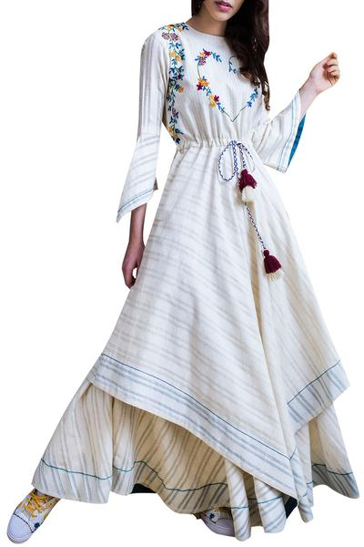 Dresses, Clothing, Carma, Ivory self print embroidered layered maxi dress ,  ,
