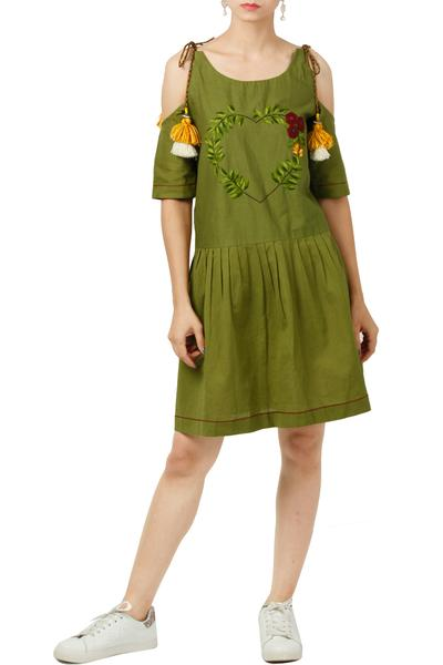 Dresses, Clothing, Carma, Green cold shoulder embroidered dress ,  ,