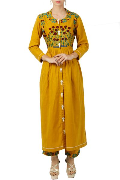 Dresses, Clothing, Carma, Mustard thread embroidered maxi dress ,  ,