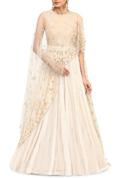 Gowns, Clothing, Carma, Ivory embroidered cape gown ,  ,  ,