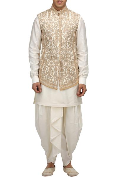 Bandhgalas/Jackets, Men's, Carma, Ivory embroidered jacket ,  ,  ,