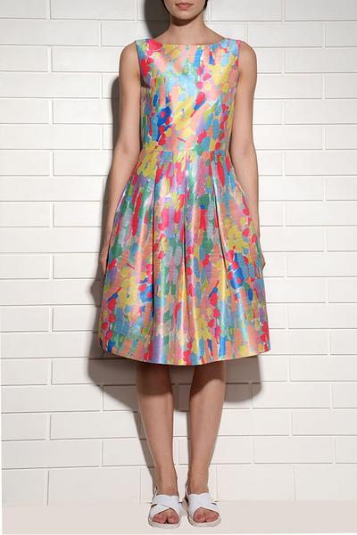 Dresses, Clothing, Carma, Multicoloured candy print box pleated dress ,  ,