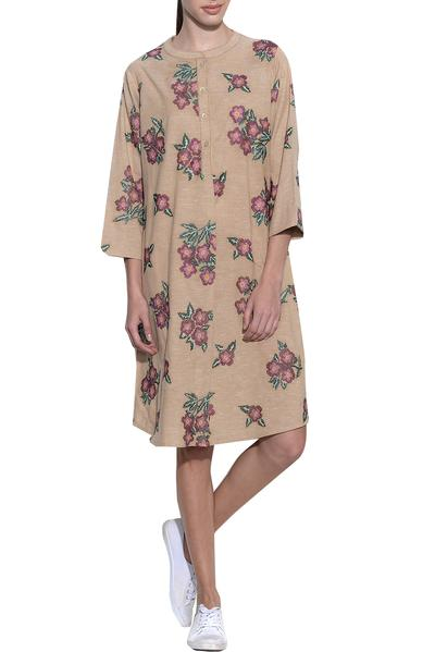 Dresses, Clothing, Carma, Beige Floral Embroidered Dress ,  ,  ,