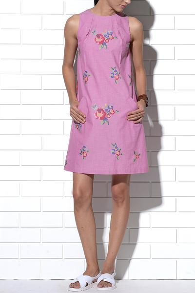 Dresses, Clothing, Carma, Sardinia pink multi-rose embroidered dress ,  ,
