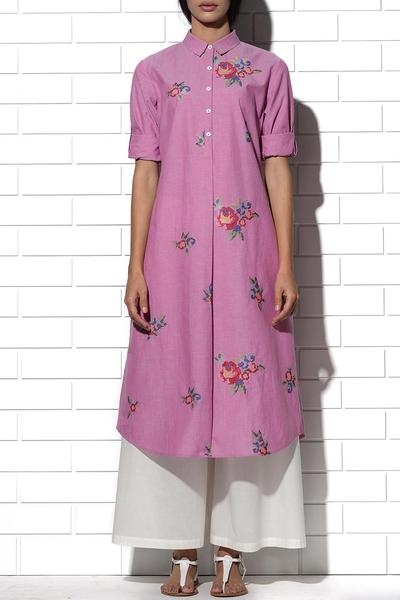 Dresses, Clothing, Carma, Sicily Tunic in pink with multi-rose embroidery ,  ,