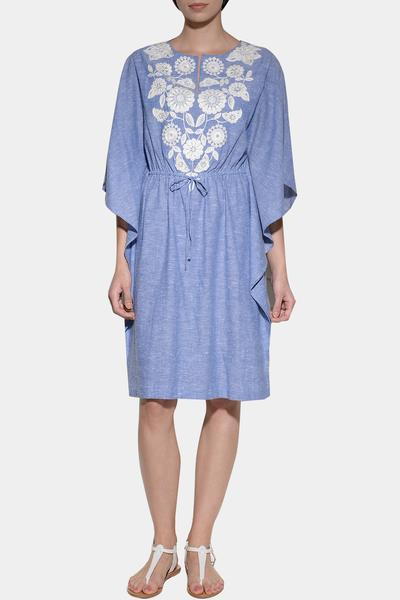 Dresses, Clothing, Carma, Melange blue embroidered kaftan dress ,  ,