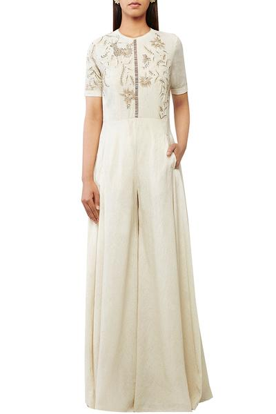 Jumpsuits, Clothing, Carma, Ivory Sheer Back Hand Embroidered Jumpsuit ,  ,  ,